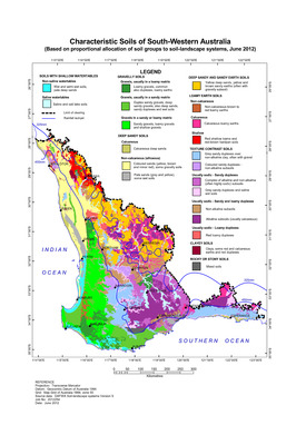 Map Of South Western Australia.Characteristic Soils Of South Western Australia